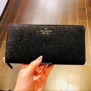 Kate Spade Odette Black Glitter Wallet
